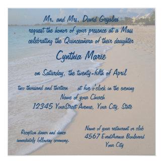 Sol de Quinceanera en la playa Invitación 13,3 Cm X 13,3cm
