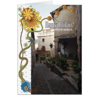 Sol del día de fiesta tarjeta de felicitación