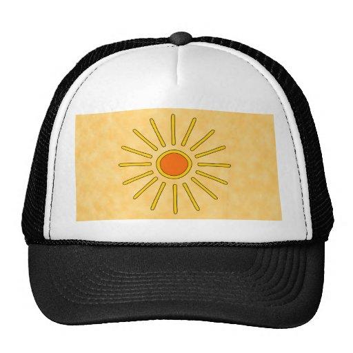 Sol del verano. Colores amarillos calientes Gorros Bordados