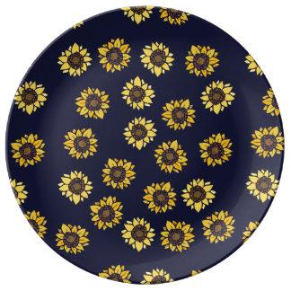 Sol del verano del girasol plato de porcelana