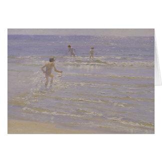 Sol en Skagen: Muchachos que nadan, 1892 Tarjeta