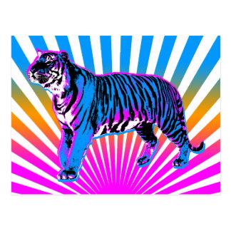 Sol naciente retro del tigre del tigre 80s de Core Tarjetas Postales