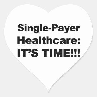 ¡Sola atención sanitaria del pagador - es tiempo! Pegatina En Forma De Corazón