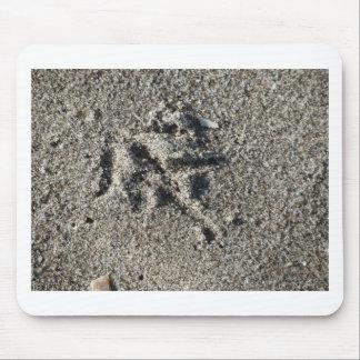 Sola huella del pájaro de la gaviota en la arena alfombrilla de ratón
