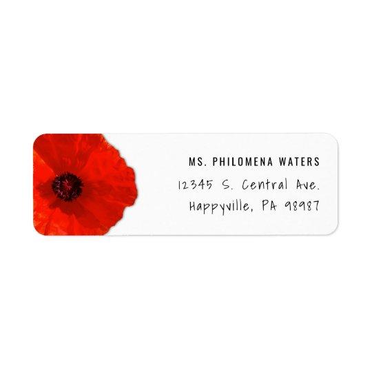 Sola plantilla roja de la amapola dos etiqueta de remitente