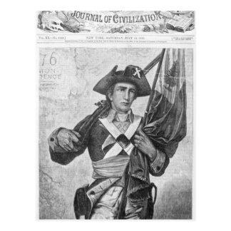 Soldado continental que sostiene una bandera del postal