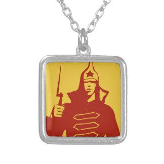 Soldado de ejército rojo collar plateado
