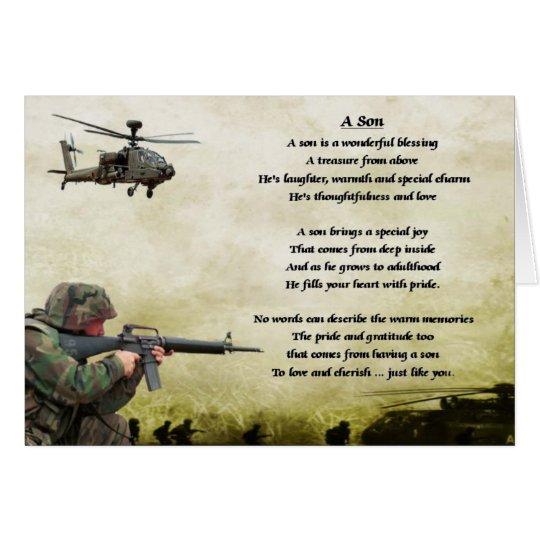 Soldado del ejército - poema del hijo tarjeta de felicitación