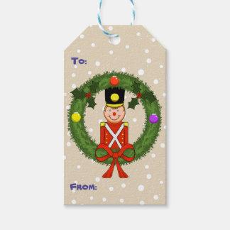 Soldado del navidad en etiquetas del regalo del