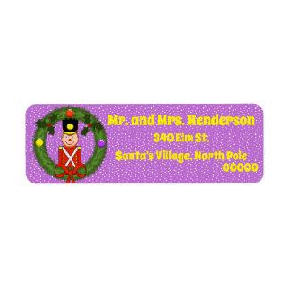 Soldado del navidad en etiquetas del remite de la