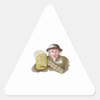 Soldado del tío Sam WW1 que tuesta la acuarela de Pegatina Triangular