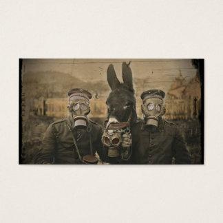 Soldados burro y caretas antigás tarjeta de visita