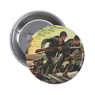Soldados de la guerra mundial 2 chapa redonda de 5 cm