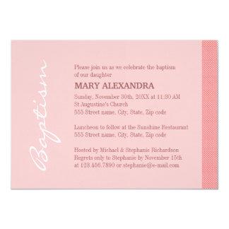 Solo bautismo rosado de la raya invitación 11,4 x 15,8 cm