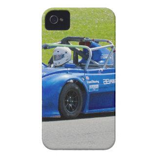 Solo coche de carreras azul del seater Case-Mate iPhone 4 protectores