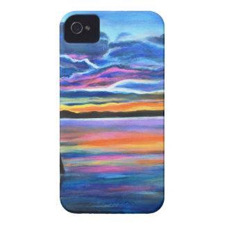 Solo izquierdo una pintura del barco del paisaje funda para iPhone 4 de Case-Mate