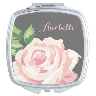 Solo rosa del vintage personalizado espejo de viaje