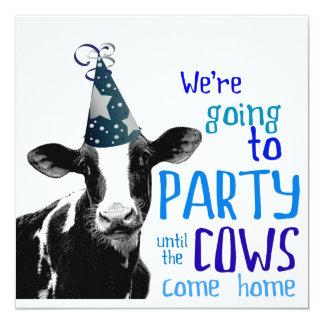 Soltero de la vaca o fiesta divertido de invitación 13,3 cm x 13,3cm