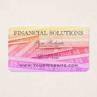 Soluciones financieras coloridas del dinero tarjeta de negocios