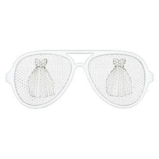 Sombra blanca del vestido de boda de la ducha de gafas de fiesta de aviador