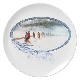 Sombra del búho en el rastro de rasgones plato de cena