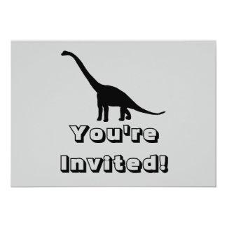 Sombra negra Dino del dinosaurio del Brontosaurus Invitacion Personal