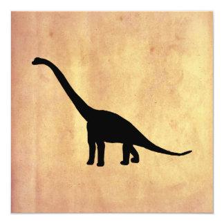 Sombra negra Dino del dinosaurio del Brontosaurus Invitación 13,3 Cm X 13,3cm
