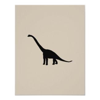 Sombra negra Dino del dinosaurio del Brontosaurus Invitación 10,8 X 13,9 Cm