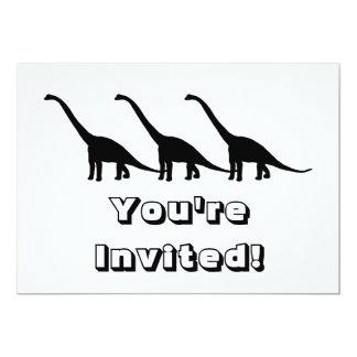 Sombra negra Dino del dinosaurio del Brontosaurus Invitación 12,7 X 17,8 Cm