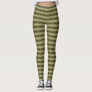 Sombras a cuadros del modelo de color caqui de los leggings