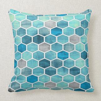 Sombras de la almohada de tiro geométrica azul