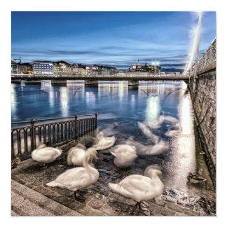 Sombras de los cisnes en el lago geneva, Suiza Invitación 13,3 Cm X 13,3cm