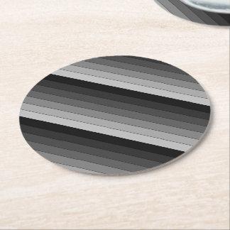 Sombras del modelo gris de las rayas elegante posavasos de papel redondo