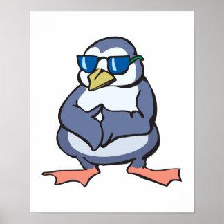 sombras que llevan del pingüino azul divertido posters