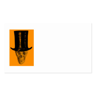 Sombrero de copa anaranjado del cráneo tarjetas de visita