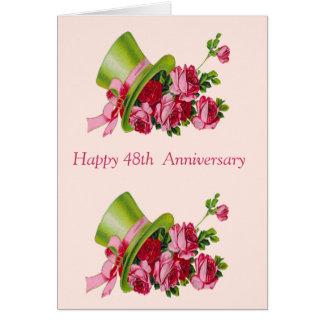 Sombrero de copa y flores, 48.o aniversario feliz tarjeta de felicitación