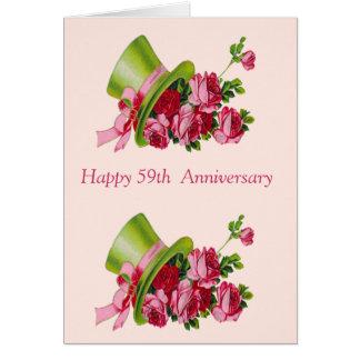 Sombrero de copa y flores, 59.o aniversario feliz tarjeta de felicitación
