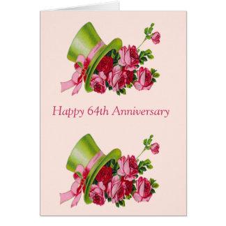 Sombrero de copa y flores, 63.o aniversario feliz tarjeta de felicitación