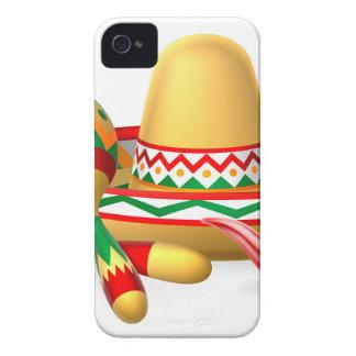Sombrero mexicano Maracas y pimienta de chiles Funda Para iPhone 4