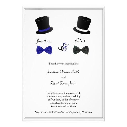 Sombreros de copa e invitación gay azul del boda d
