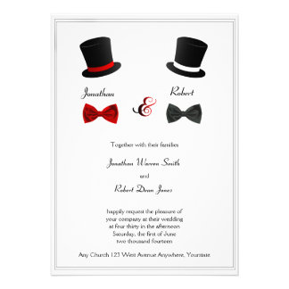 Sombreros de copa e invitación gay del boda de las