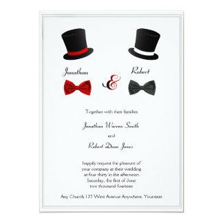 Sombreros de copa e invitación gay del boda de las invitación 12,7 x 17,8 cm