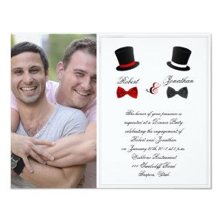 Sombreros de copa y compromiso gay del boda de las invitación 10,8 x 13,9 cm