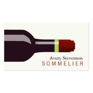 Sommelier de la botella de vino rojo tarjetas de visita