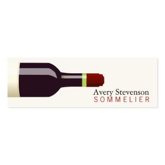 Sommelier de la botella de vino rojo tarjetas de visita mini