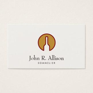Sommelier resumido del logotipo de la botella de tarjeta de negocios