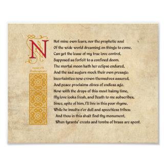 Soneto 107 de Shakespeare (CVII) en el pergamino Impresiones Fotograficas