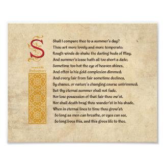 Soneto 18 de Shakespeare (XVIII) en el pergamino Foto