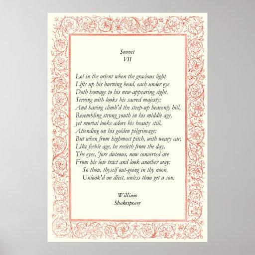 Soneto # 7 de William Shakespeare Impresiones