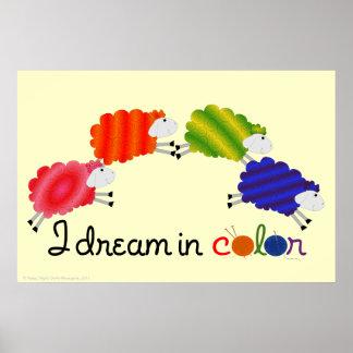 Soño en poster de las ovejas del color póster
